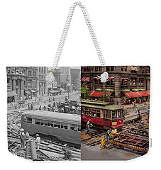 Weekender Tote Bag featuring the photograph City - Dc - Road Closed For Repairs 1941 - Side By Side by Mike Savad