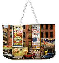 Weekender Tote Bag featuring the photograph City - New York Ny - Elite Lunch Bar 1938 by Mike Savad