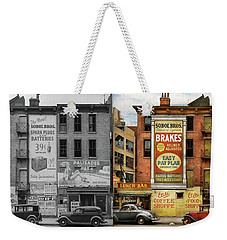 Weekender Tote Bag featuring the photograph City - New York Ny - Elite Lunch Bar 1938 - Side By Side by Mike Savad