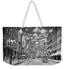 Weekender Tote Bag featuring the photograph City - Ny - Main Street Poughkeepsie, Ny - 1906 - Black And White by Mike Savad