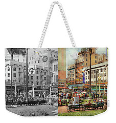 Weekender Tote Bag featuring the photograph City - San Diego Ca - A Busy Street Corner 1941 - Side By Side by Mike Savad