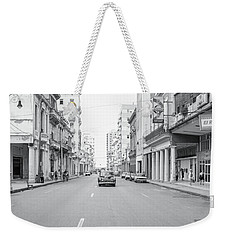 Weekender Tote Bag featuring the photograph City Street, Havana by Mark Duehmig