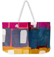 Weekender Tote Bag featuring the mixed media City Windows- Art By Linda Woods by Linda Woods