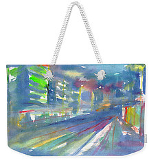 Weekender Tote Bag featuring the painting Cityscape 2 by Dobrotsvet Art