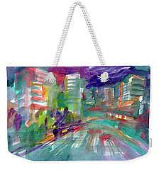 Weekender Tote Bag featuring the painting Cityscape 3 by Dobrotsvet Art
