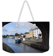 Weekender Tote Bag featuring the painting Cloondara,a Shannon By Way. by Val Byrne