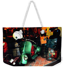 Weekender Tote Bag featuring the photograph Clothing Shop With Vespa Pienza by Dorothy Berry-Lound