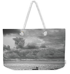 Weekender Tote Bag featuring the photograph Cloudy Morning Rough Waves by Steve Stanger