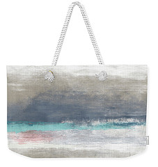 Weekender Tote Bag featuring the mixed media Coastal Escape Landscape -abstract Art By Linda Woods by Linda Woods