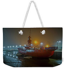 Weekender Tote Bag featuring the photograph Colne Lightship In The Fog by Gary Eason