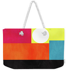 Weekender Tote Bag featuring the mixed media Colorful Geometric Abstract 1- Art By Linda Woods by Linda Woods