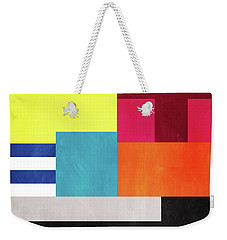 Weekender Tote Bag featuring the mixed media Colorful Geometric Abstract 2- Art By Linda Woods by Linda Woods