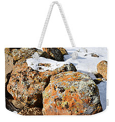 Colorful Lichen Covered Boulders In Book Cliffs Weekender Tote Bag