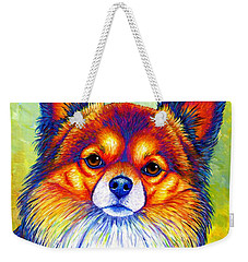 Colorful Long Haired Chihuahua Dog Weekender Tote Bag
