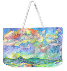 Weekender Tote Bag featuring the painting Colorful Summer Landscape by Dobrotsvet Art