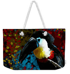 Weekender Tote Bag featuring the digital art Colorful Toucan by Mariella Wassing