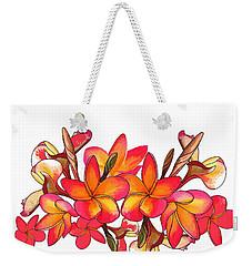 Coloured Frangipani White Bkgd1 Weekender Tote Bag
