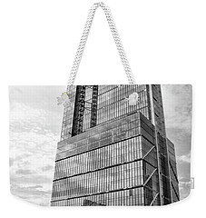 Weekender Tote Bag featuring the photograph Comcast Technology Center - Philadelphia In Black And White by Bill Cannon