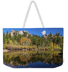 Weekender Tote Bag featuring the photograph Cool Calm Rocky Mountains Autumn Reflections by James BO Insogna