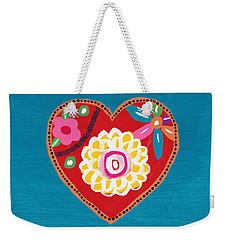 Weekender Tote Bag featuring the mixed media Corazon 3- Art By Linda Woods by Linda Woods