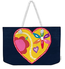 Weekender Tote Bag featuring the mixed media Corazon 4- Art By Linda Woods by Linda Woods