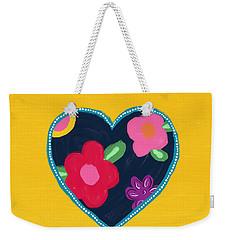 Weekender Tote Bag featuring the mixed media Corazon 5- Art By Linda Woods by Linda Woods