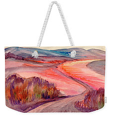 Weekender Tote Bag featuring the painting Country Road by Dobrotsvet Art