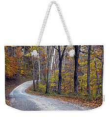 Weekender Tote Bag featuring the photograph Country Road On Fall Day by Mike Murdock