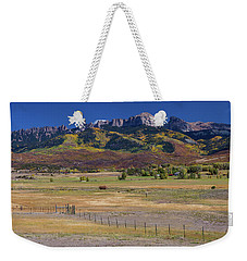 Weekender Tote Bag featuring the photograph Courthouse Mountains And Chimney Rock Peak by James BO Insogna