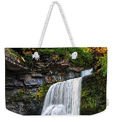 Weekender Tote Bag featuring the photograph Cowshed Falls At Watkins Glen State Park - Finger Lakes, New York by Lynn Bauer