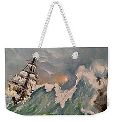 Weekender Tote Bag featuring the painting Crashing Waves by Miroslaw  Chelchowski