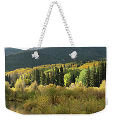 Weekender Tote Bag featuring the photograph Crested Butte Colorado Fall Colors Panorama - 1 by OLena Art Brand