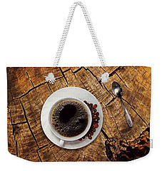 Cup Of Coffe On Wood Weekender Tote Bag