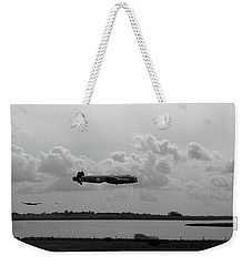 Weekender Tote Bag featuring the photograph Dambusters Lancasters At Abberton Bw Version by Gary Eason