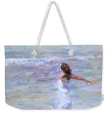 Weekender Tote Bag featuring the painting Dancing On The Sand by Chris Armytage