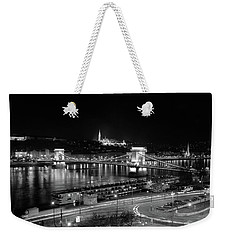 Weekender Tote Bag featuring the photograph Danube River At Night by Mark Duehmig