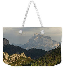 Weekender Tote Bag featuring the photograph Dappled Light On Pena Montanesa by Stephen Taylor