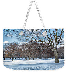 Weekender Tote Bag featuring the photograph Dashing Through The Snow by Kim Hojnacki