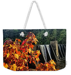 Weekender Tote Bag featuring the photograph De Soto Falls In Autumn by Rachel Hannah