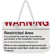 Deadly Force Warning Sign Weekender Tote Bag