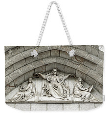 Weekender Tote Bag featuring the photograph Decorated Sculpture On Plymouth Guildhall Building by Jacek Wojnarowski
