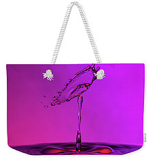 Weekender Tote Bag featuring the photograph Deep Purple Water Drop Collision by SR Green