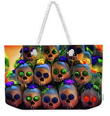 Weekender Tote Bag featuring the photograph Dia De Los Muertos Candy Skulls 2 by Tatiana Travelways
