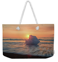 Weekender Tote Bag featuring the photograph Diamond Beach Sunrise Iceland by Nathan Bush