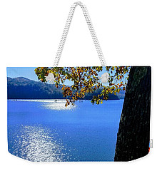 Weekender Tote Bag featuring the photograph Diamond Ripples On The Water by Rachel Hannah