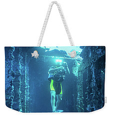 Diver In The Patris Shipwreck Weekender Tote Bag
