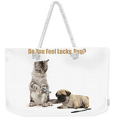 Weekender Tote Bag featuring the photograph Do You Feel Lucky, Pug by Warren Photographic