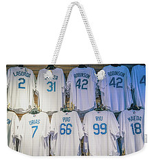Weekender Tote Bag featuring the photograph Dodgers Wall Of Famers - Blue Vintage by Lynn Bauer