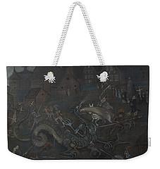 Weekender Tote Bag featuring the drawing Dragon  by Ivar Arosenius