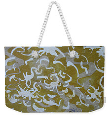 Weekender Tote Bag featuring the drawing Dull Yellow With Masking Fluid by AJ Brown